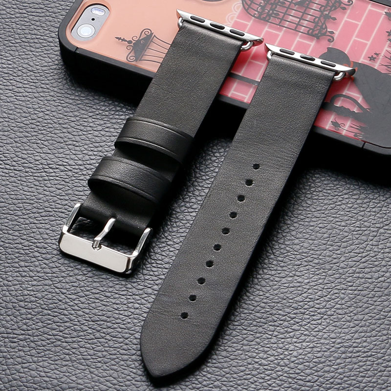 High Quality Black Leather 38mm 42mm Mens Apple Watch Band Sport Casual For iWatch Strap