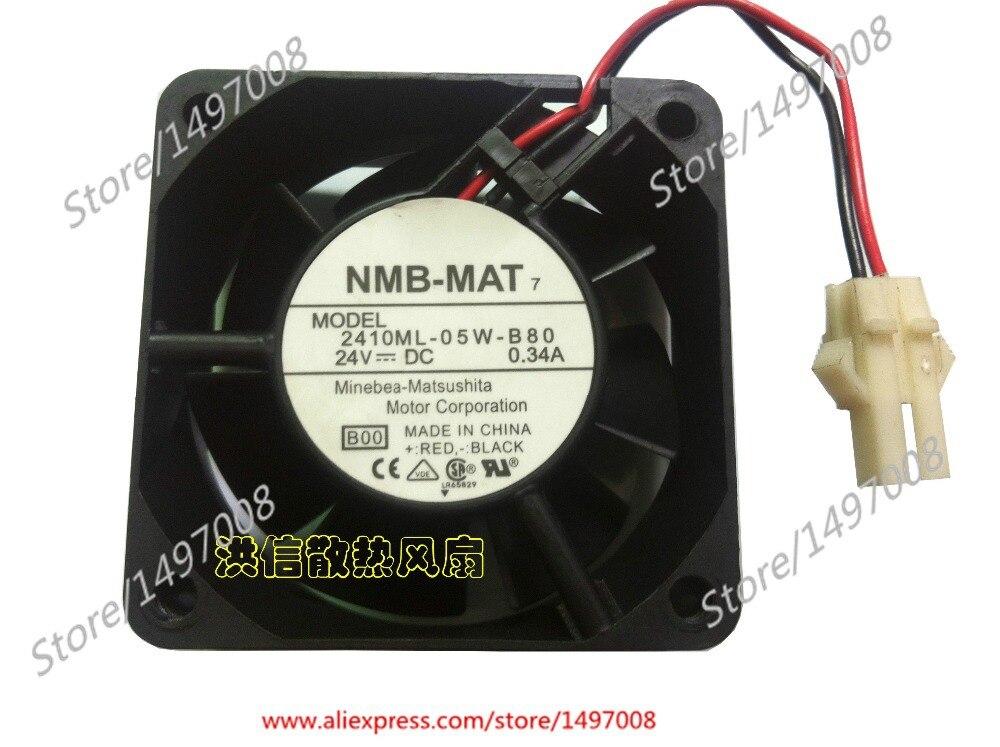 Free Shipping For NMB  2410ML-05W-B80, B00  DC 24V 0.34A 2-wire 2-pin connector 50mm 60X60X25mm Server Square fan