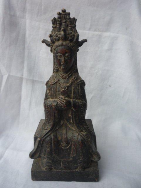 Rare distinctif ancienne dynastie Qing bronze vert Tara bouddha Statue, meilleure collection et parure, livraison gratuite