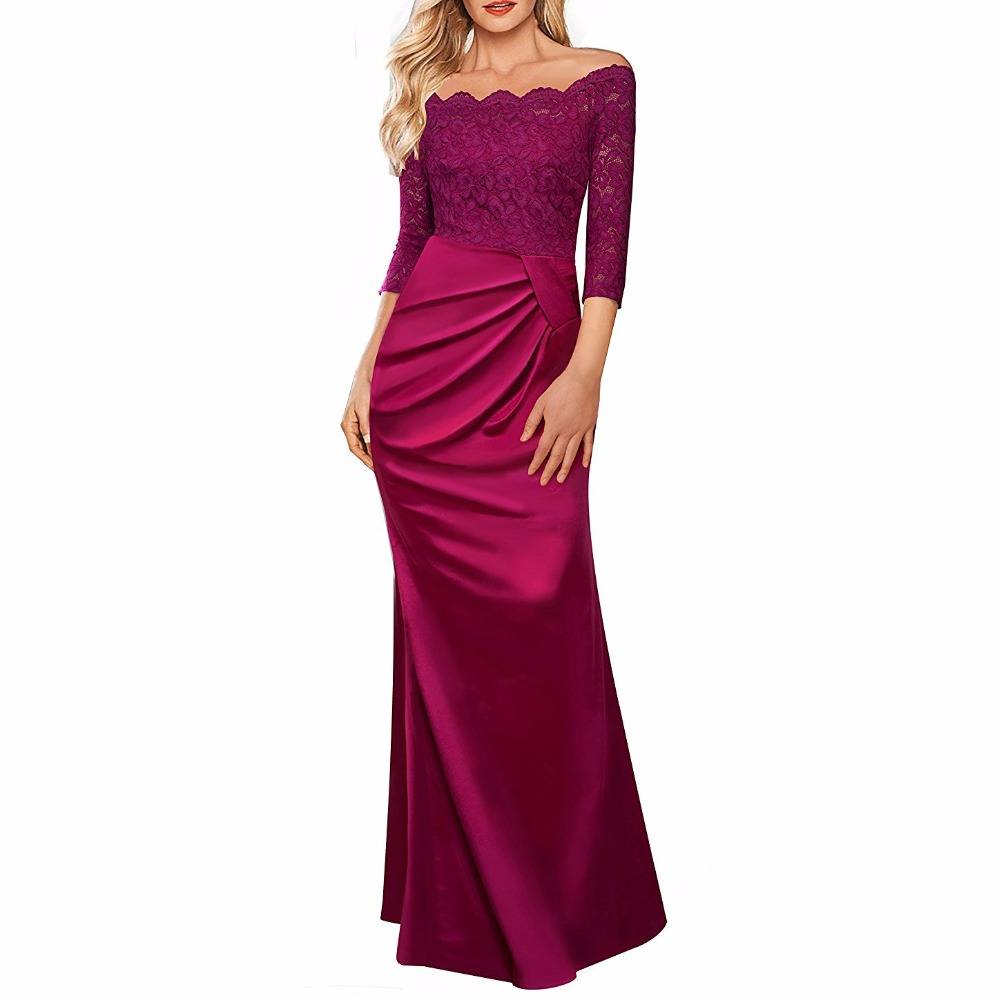 Women's Vintage Floral Lace 2/3 Sleeves Off Shoulder Formal Evening Long Dress Contrast Satin Wedding Party Maxi Dresses