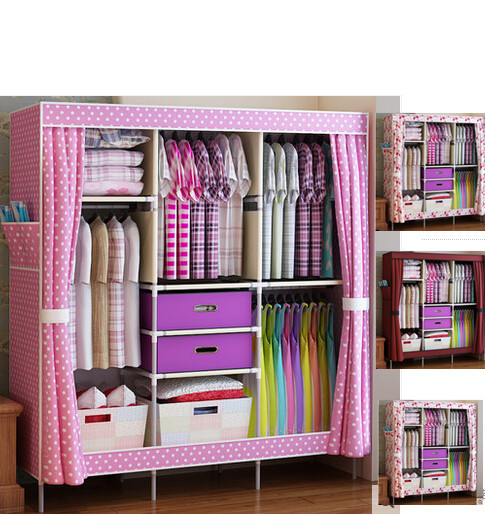 Clothe Storage Wardrobe Simple Portable Clothe Closet New Fashion Sundries Storage  Cabinet Dust Proof Clothe