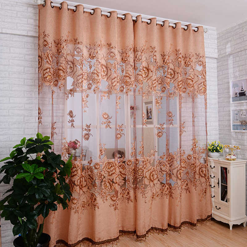 Topfinel Luxury Jacquard Embroidered Sheer Curtains for Living Room Bedroom Window Tulle Curtains Floral Style Design 1 Panel