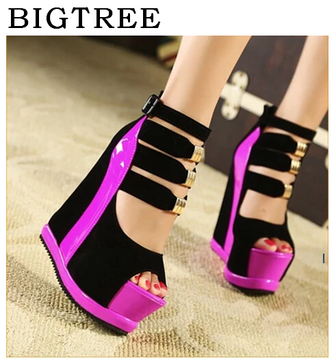 2017 Summer Genuine Women Platform Sandals Wedges High heel 14.5cm Peep Toe Mixed Colors Sweet Woman Shoes Sexy Ladies Shoes