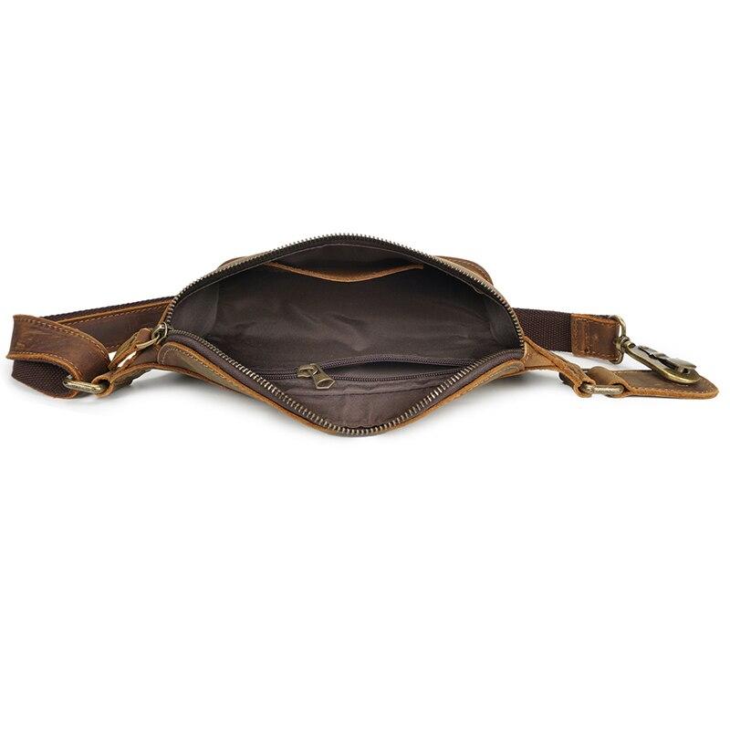 Для мужчин из натуральной кожи поясная сумка Деньги кошелек Crossbody груди многофункциональный мужской поясной ремень сумки - 5