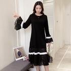 Spring Maternity Lace Dresses Long Sleeve Pregnancy Maternity Large Clothing Patchwwork Floral Women Dress for Pregnant Women