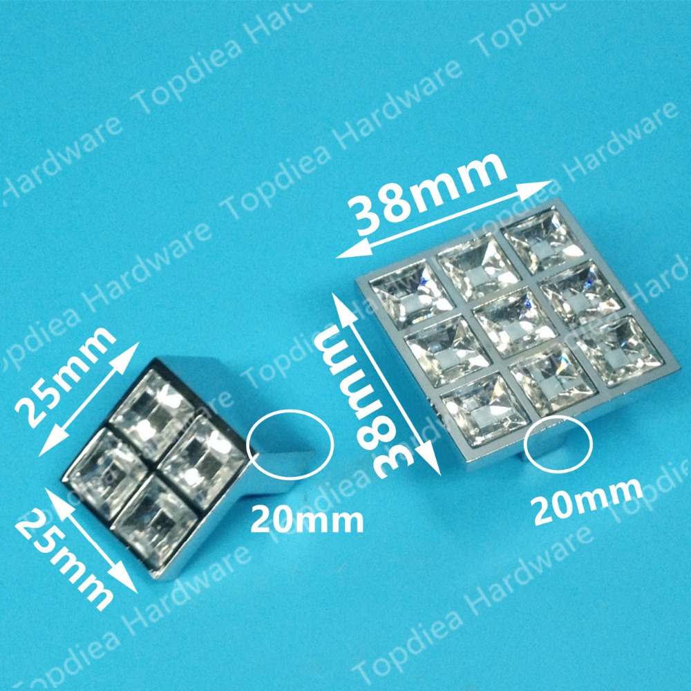 size 38*38mm square type crystal drawer pulls glossy shiny furniture kids knobs kitchen cabinet handles 38 518438