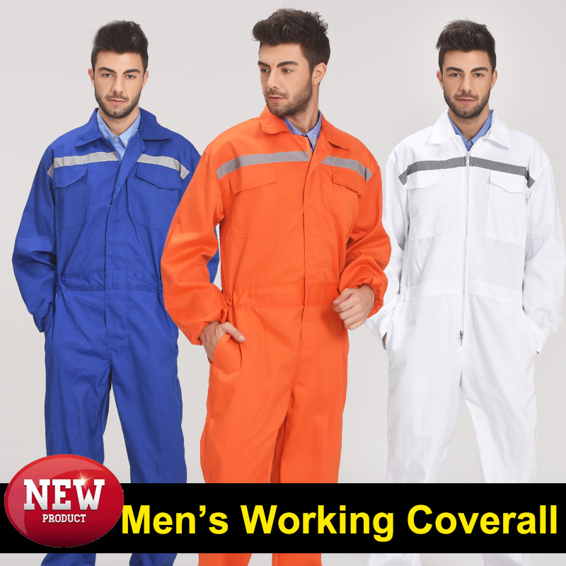 New Mechanic Wear Men's Dust Proof Clothes Overall Workwear With Reflective Tapes Blue Workwear Working Coverall For Men