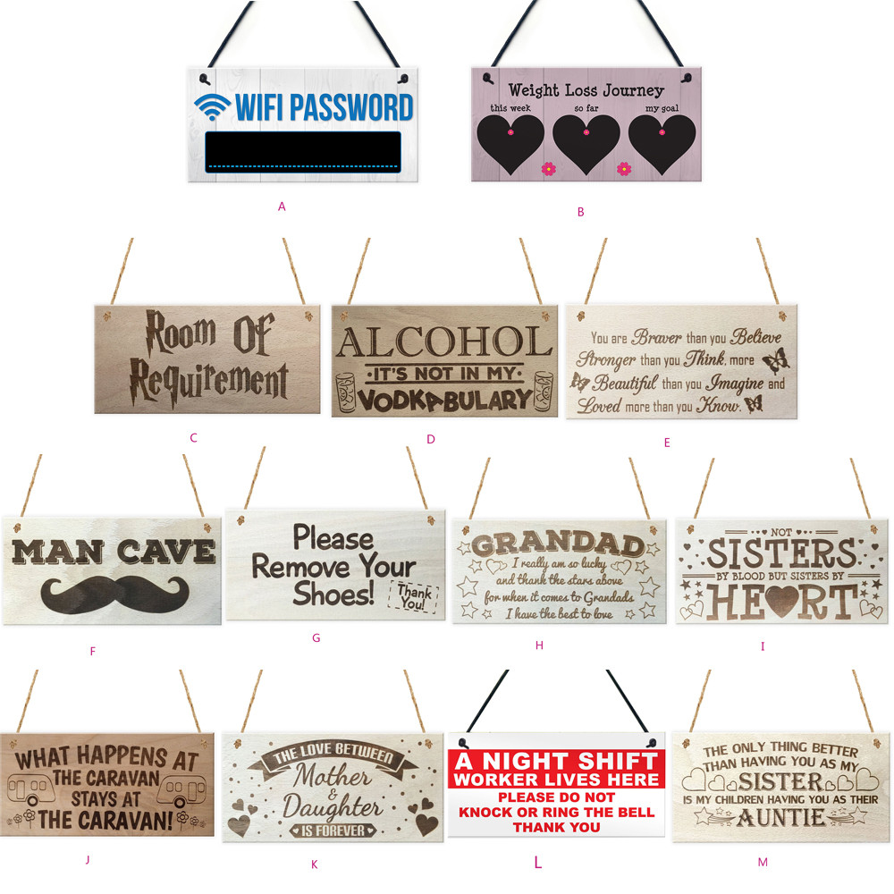 Rectangular wooden plaque gift pendant tag Wooden Sign Vintage Home Decor Sign Wooden Pl ...
