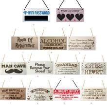 Placa de madera Rectangular, regalo, etiqueta colgante, signo de madera, decoración Vintage para el hogar, placa de madera, placa fresca, cartel de madera para café, pared