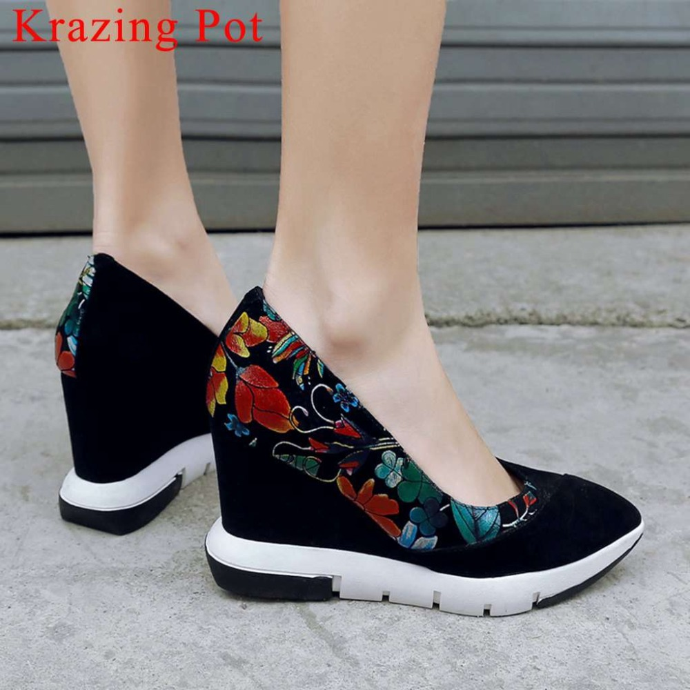 2019 slip on wedges high heels concise shallow pumps sheep leather oxford pointed toe mixed colors