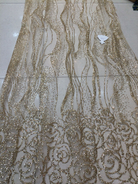5 Yards lot aso ebi style Champagne gold French Tulle Net fancy african glitter  lace dcbd16fa6e4b