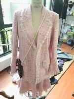 Комплект из двух предметов женские костюмы зимняя куртка и комплект с юбкой, розовый Tweet Топ пальто и юбка элегантный Mujer Completo Большие размер