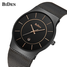 Watch Men BIDEN Top Luxury Brand Men's Watches Fashion Black Mesh Ultra Thin Stainless Steel Mesh Band Quartz Wristwatch Relogio hannah martin women s watch top brand designer luxury ultra thin quartz watches leather band simplistic wristwatch dropshipping