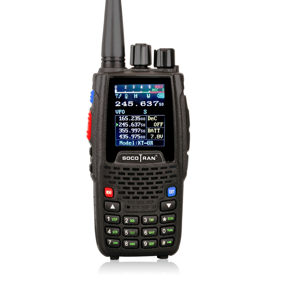 Quad Band Walkie talkie UHF VHF 136 147Mhz 400 470mhz 220 270mhz 350 390mhz 4 Band Handheld Two Way Radio Ham Transceiver  KT 8R-in Walkie Talkie from Cellphones & Telecommunications