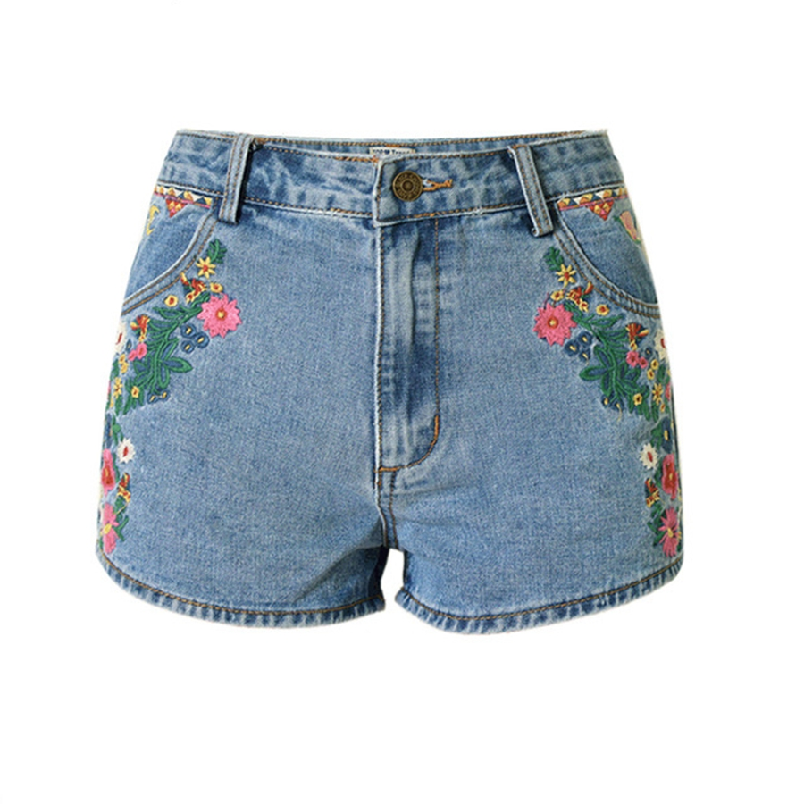 2017 new flower embroidered shorts jeans women vintage ethnic style slim high waist shorts. Black Bedroom Furniture Sets. Home Design Ideas