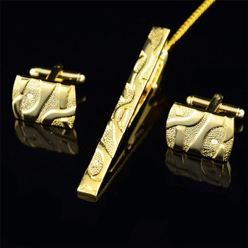 Gold Cufflinks Lavalier Set