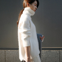 Autumn And Winter Korean Version Of The New Women S Lazy Arc Sleeve Head Loose Knit