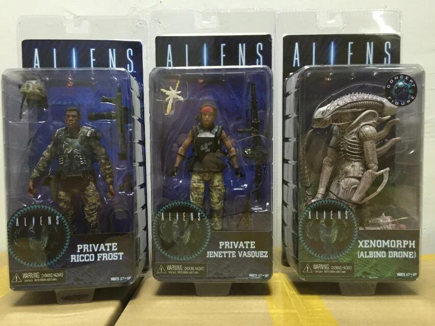 NECA foreign Series 9 Albino Xenomorph Drone in private Ricco Frost Jenet Vasquez PVC Action Figure Collectible Model Toy 7 18cm