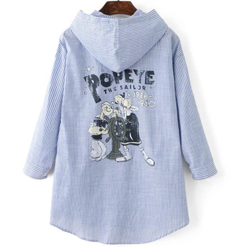 Women Blue Striped Shirt Hooded Long Sleeve Back Print