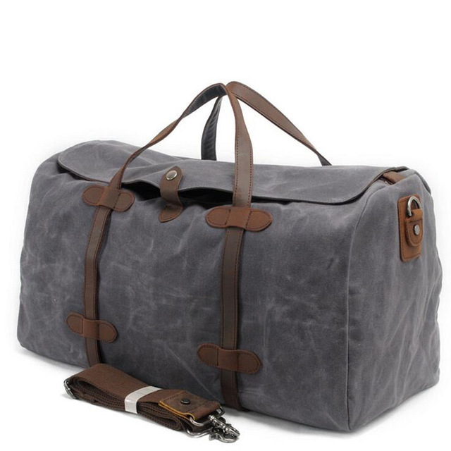 Vintage Wax Canvas Luggage bag Men Travel Bags Carry on Large Men Duffel  Bags shoulder Weekend bag Overnight Big tote Handbag 0a3b0d74ad