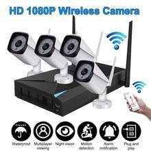 HD 1080P 4CH WiFi Wireless CCTV Video Surveillance System NVR Kits Indoor/Outdoor IP Cameras IR Cut  Motion Detection IP66