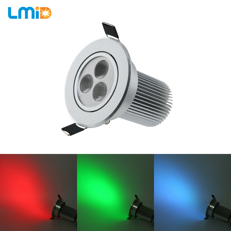 LMID Recessed LED Ceiling Light 9W 3*3W RGB Round Ultra Thin Led Panel Light DC12V LED Down Light