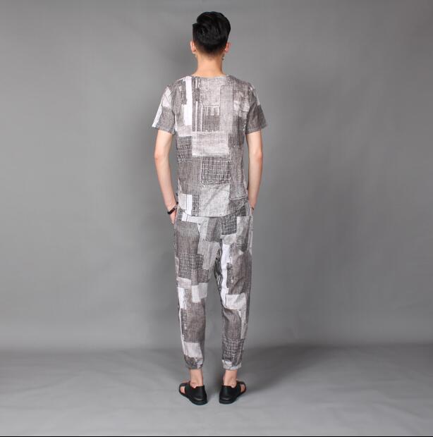 2018 nuevo estilo de pelo de estilista T shirt traje de verano de material de cáñamo de manga corta 9 minutos pantalones traje de marea L 4XL - 2