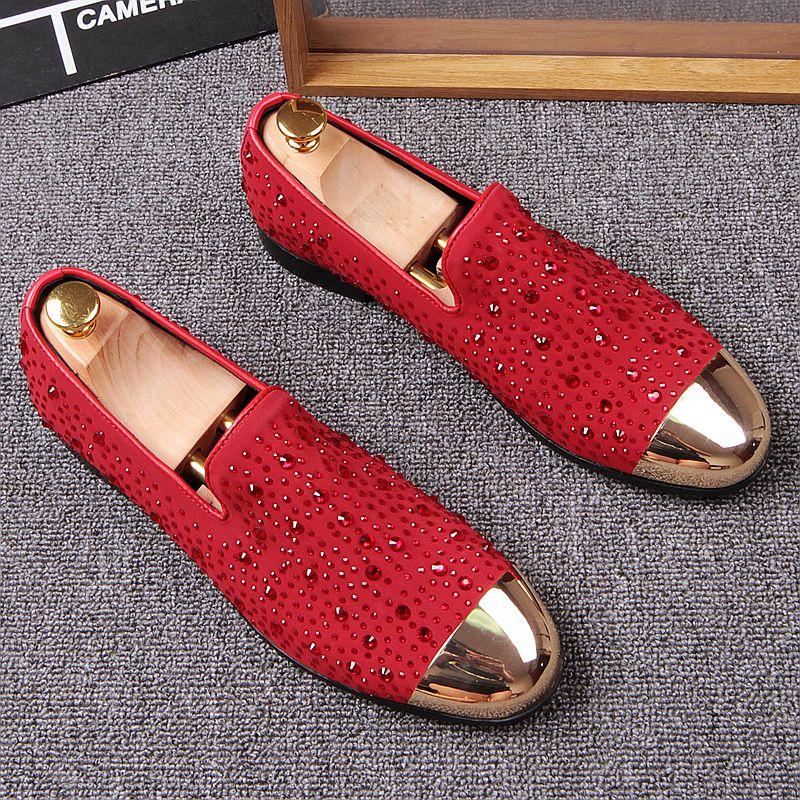 Respirant Strass Mans Bateaux Pois Paresseux Plat Loisirs Chaussures Mode Conduite Mocassins zUwqHWBAnp