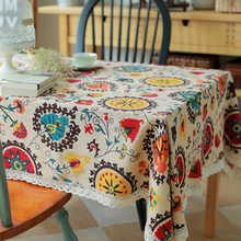 Classical Cotton Linen Tablecloths Rectangle Sunflower Printing Table Cloth with Lace Dustproof Table Covers for Wedding Home