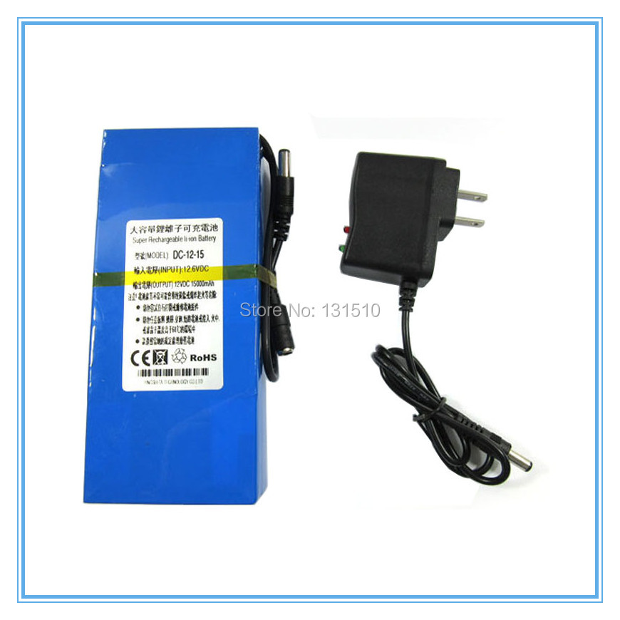 Portable <font><b>12V</b></font> DC 15000mAh <font><b>15AH</b></font> Rechargeable Li-ion Battery for wireless transmitter CCTV camera blue 20PCS/LOT with 1A charger image