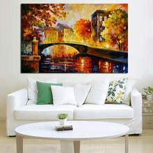 Handpainted Bridge Oil Painting On Canvas landscape knife Abstract Modern Picture Wall Artwork Living Room