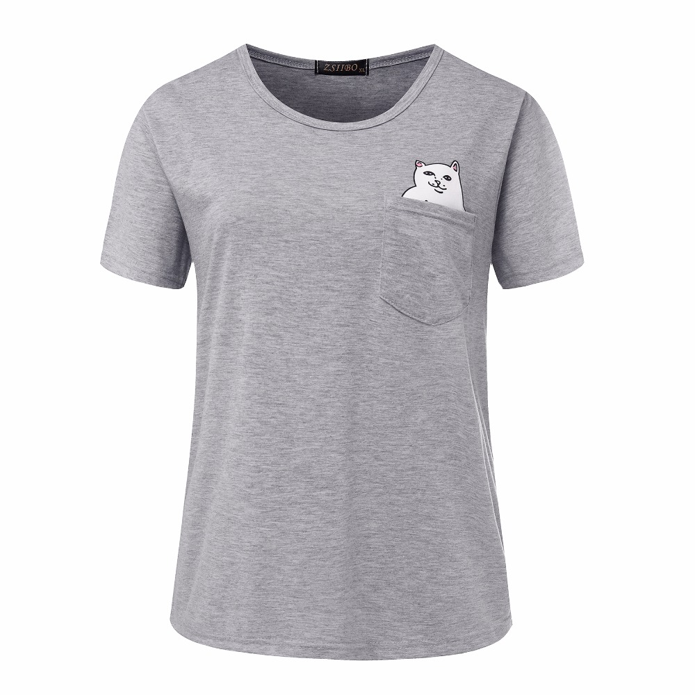 Zsiibo nvtx09 factory price cat in pocket t shirt casual t for Pocket t shirt printing
