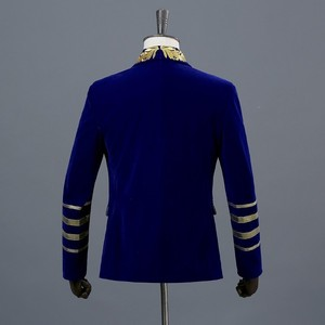 Image 2 - PYJTRL Mens Shawl Collar Royal Blue Suede Embroidery Loose Suit Jacket Stage Show Singer Double breasted Men Blazer Designs