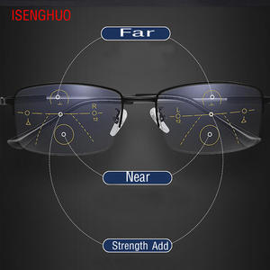 ISENGHUO Progressive Multifocal Light Reading-Glasses Anti-Blue Sight-Alloy-Frame Near