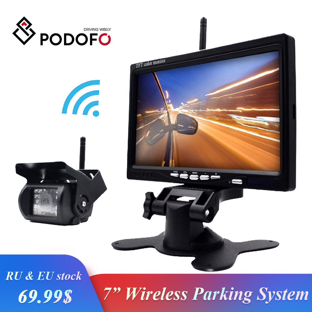 Wireless 7 inch HD Monitor Truck Vehicle Backup Camera &  IR Night Vision Car Rear View Camera Parking Assistance Waterproof usb battery bank charger