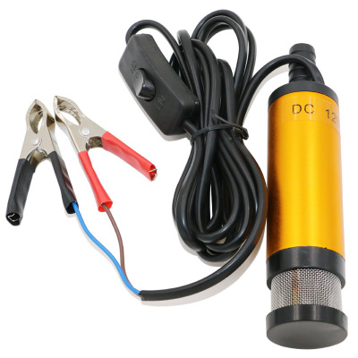 Portable Mini 12V 24V DC Electric Submersible Pump For Pumping Diesel Oil Water Aluminum Alloy Shell 12L/min Fuel Transfer Pump 50l min ac dc electric automatic fuel transfer pump for pumping oil diesel kerosene water small auto refueling pump