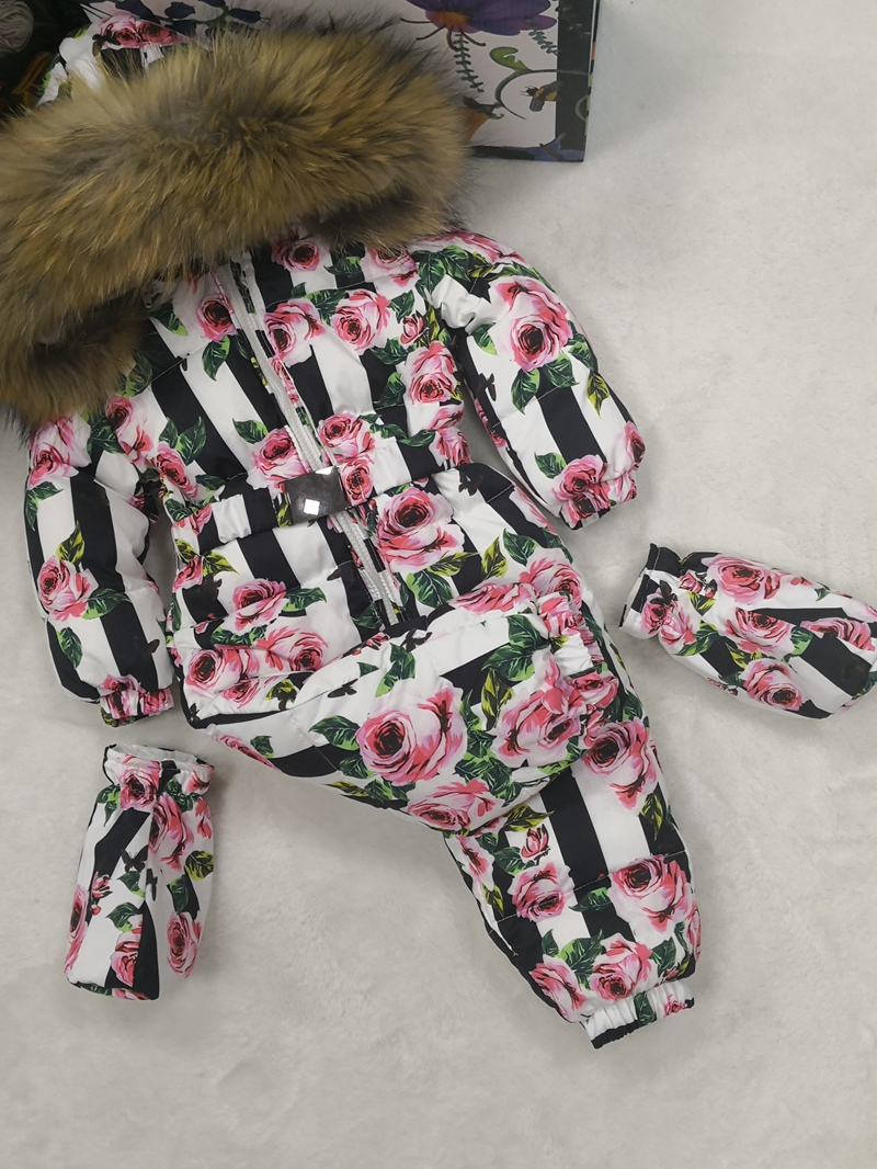 Real fur hooded 2018 Winter Jacket child jackets children jumpsuit snow suit girl floral limbing down