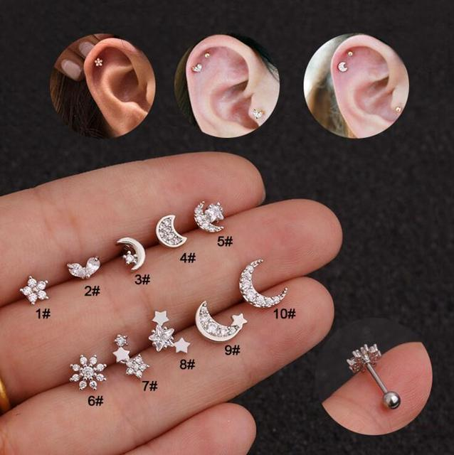 Imixlot Cz Moon Star Flower Tiny Cartilage Earring Small Cartilage Stud Ear Helix Piercing Jewelry Tragus.jpg 640x640 - Imixlot Cz Moon Star Flower Tiny Cartilage Earring Small Cartilage Stud Ear Helix Piercing Jewelry Tragus Conch Earring Stud