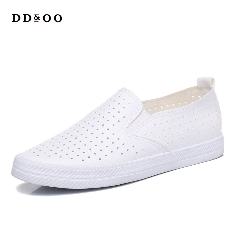 2018 summer autumn new fashion women shoes casual flats solid breathable hole simple women casual white shoes sneakers