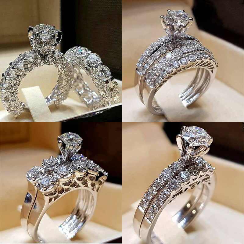 CUTEECO 2019 Fashion Wedding Engagement Rings For Women Anniversary Accessories White Zircon Silver Color Ring Set Jewelry