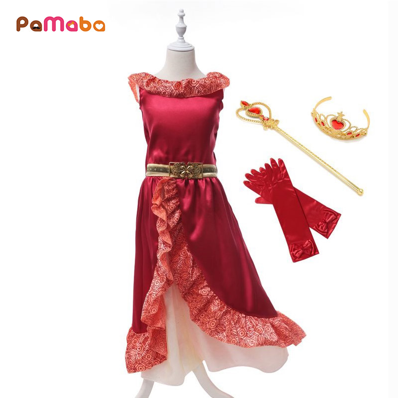 PaMaBa Girls Elena Dress Summer Sleeveless Cartoon Elena of Avalor Princess  Birthday Party Dresses Girls Fantasy Elena Costume 6eff8a27bb8de