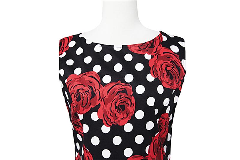 Kostlish Elegant Print Women Summer Dress Sleeveless Cotton Hepburn 50s 60s Vintage Dress With Belt Casual A-Line Ladies Dresses (43)