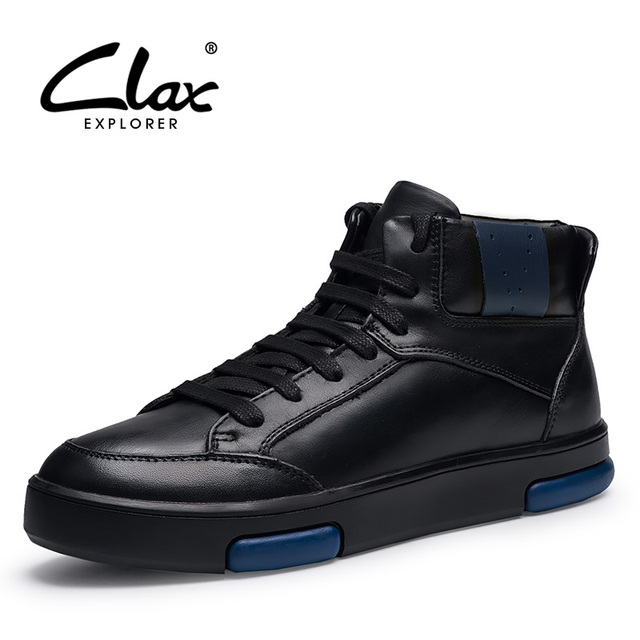 CLAX Men's Winter Shoes 2017 Casual Ankle Boots Male Genuine Leathr Snow Boots Warm Shoe Black Walking Footwear Fur Plush
