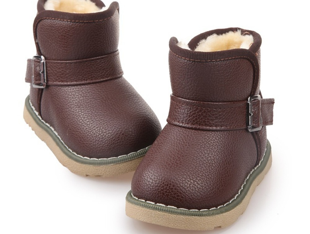 2016 Winter Leather Children Snow Boots Kids Shoes Rubber Soft ...