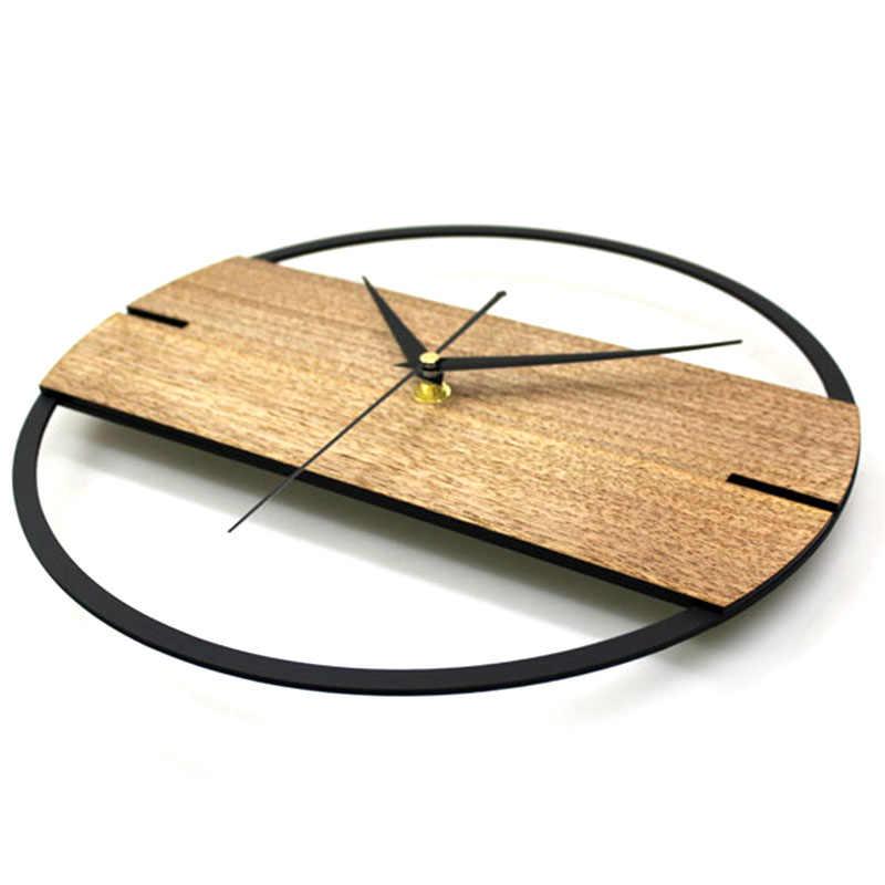 Reloj de pared Vintage relojes de madera de diseño Simple moderno para dormitorio pegatinas 3D Reloj de pared de madera decoración del hogar silencioso de 12 pulgadas