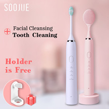SOOJUE Sonic Electric Toothbrush Wireless Rechargeable Waterproof ultrasonic tooth brush DoPont Brush and Facial Cleansing