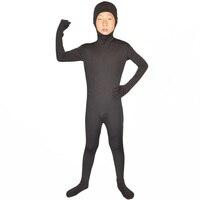 Dzieci garnitur cały czarny lycra zentai body zentai unitard elastan otwórz twarzy fancy dress party halloween kostiumy dla dzieci