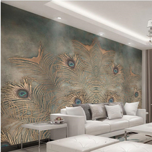beibehang papel parede  Custom wallpaper Chinese Peacock Feather TV Wall wall papers home decor de 3d tapety behan