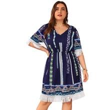 Plus Size Casual Dress Summer Women V Neck Short Sleeve Retro Printing Tassel Boho Beach Dresses Ladies Tunic Midi Dress