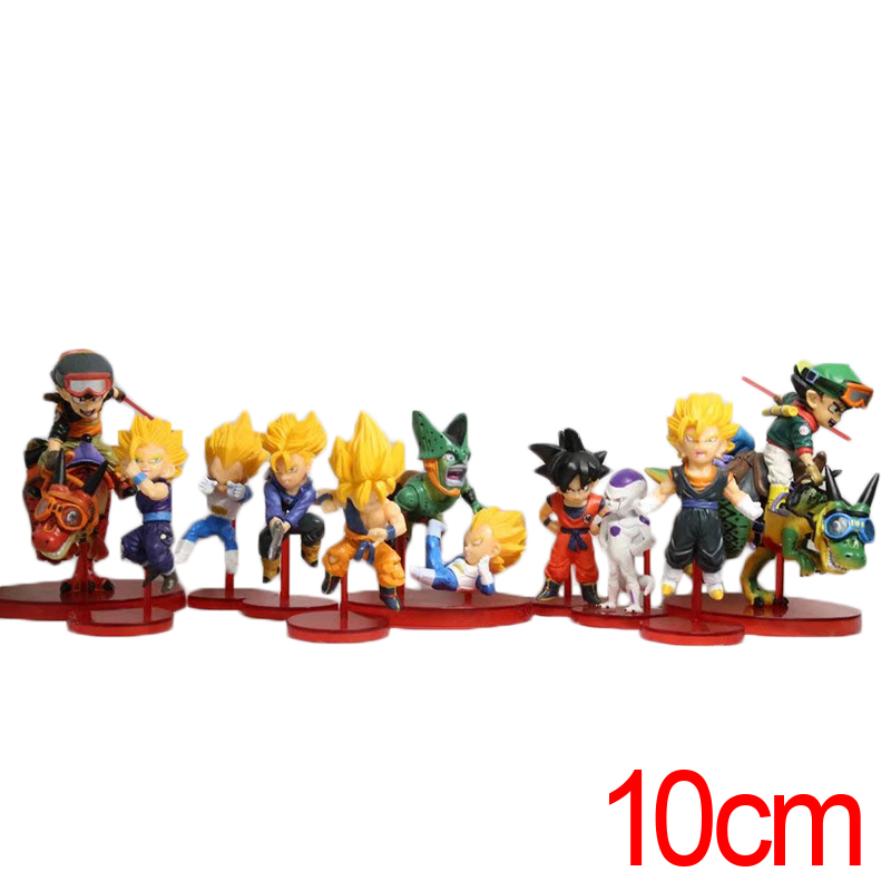 C&F Dragon Ball 42 Anime Action Figure Toys Super Saiya Son Goku 10 CM 10 PCS Display MIni PVC Model Collectible Figures Toys shfiguarts anime dragon ball z son gokou movable pvc action figures collectible model toys doll 18cm dbaf094